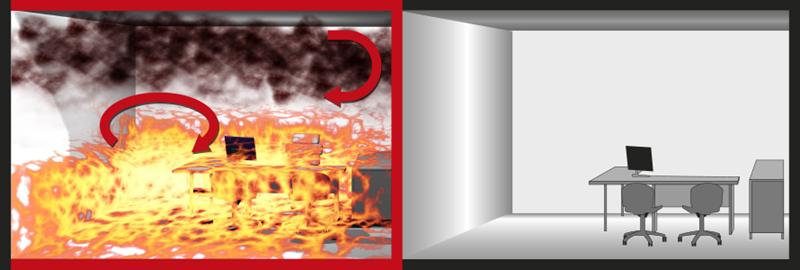 Изображение на начина за ограничаване на разпространението на пожар в сграда чрез пожарни отделения