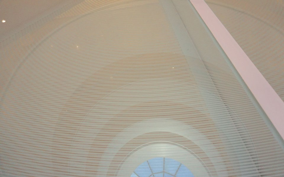 Хоризонтално остъкление с огнеупорно стъкло PROMAGLAS® в галерията Недбалка в Братислава, отдолу