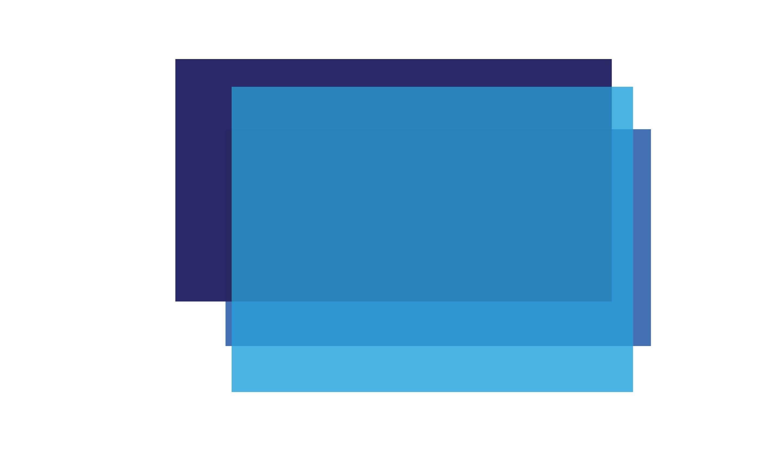 Na slici je nekoliko pravokutnika različith nijansi plave boje koji idu jedan preko drugog.